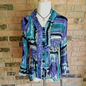 NWT Larry Levine Womens Bell Sleeve Blouse Size PL